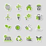 Umwelt-Ikonen-Aufkleber-Satz stock abbildung
