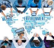 Umwelt-natürliche Nachhaltigkeits-globales Weltkarte-Konzept stockfoto