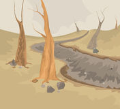 Umwelt und trockene Nebenflussszene Stockbilder