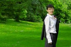 Umweltfreundliche asiatische Geschäftsfrau Stockfotos
