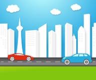 Umweltfreundliche Stadt des Vektors mit weißen Gebäuden Lizenzfreie Stockfotos