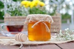 Umweltfreundlicher Honig in den Glasgefäßen Lizenzfreies Stockbild
