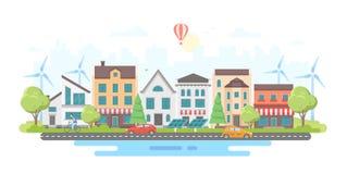 Umweltfreundlicher Stadtbezirk - moderne flache Designart-Vektorillustration Stockfotos