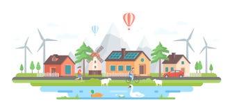 Umweltfreundliches Dorf - moderne flache Designart-Vektorillustration stock abbildung