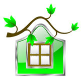 Eco freundliche Haus-Ikone Lizenzfreie Stockbilder