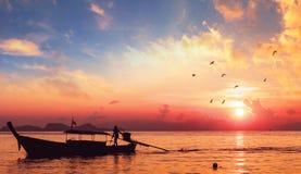 Umweltschutzkonzept: Sonnenuntergangflussboots-Schattenbildlandschaft stockfotografie