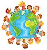Umweltslogans, Sprechen und Phrasen über die Erde, die Natur und das gehende Grün Nette Kleinkinder Lizenzfreie Stockfotografie