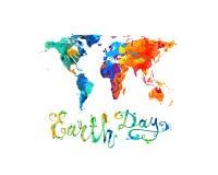 Umweltslogans, Sprechen und Phrasen über die Erde, die Natur und das gehende Grün Spritzenfarbenvektor Lizenzfreies Stockfoto
