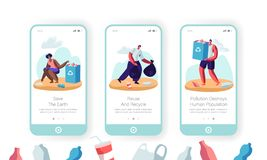 Umweltverschmutzungs-Problem wählen bewegliche App-Seite an Bord der Schirm-Satz-gemischtrassigen Freiwilligen oben Sänfte in den lizenzfreie abbildung
