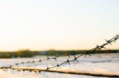 Umwickelnder Draht auf dem Hintergrund des Abendhimmels und des Bauernhoffeldes Konzept der Begrenzung der Freiheit, Schlussfolge lizenzfreie stockfotos