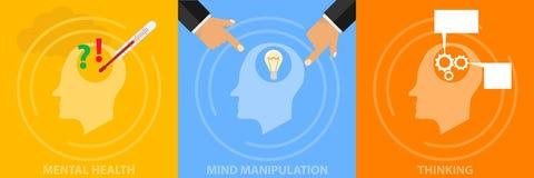 Umysłowy pojęcie sytuacja egzystencjalna człowieka Medytacja, manipulacja umysł, analiza osoby ` s umysłowy stan ilustracji
