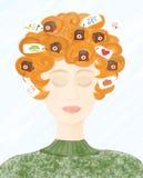 umysł kobieta royalty ilustracja