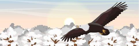 Un águila calva grande vuela sobre copas en la nieve ilustración del vector