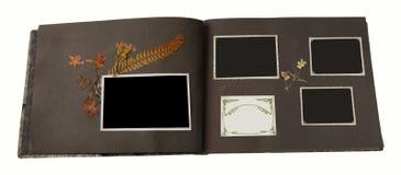 Un álbum de foto de la vendimia con 4 marcos en blanco fotografía de archivo libre de regalías
