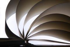 Un álbum o un libro abierto, con las hojas limpias del papel. Fotografía de archivo
