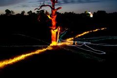 Un árbol brillante y una capilla en la oscuridad foto de archivo