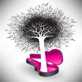 Un árbol de notas crece de una caja de la guitarra libre illustration
