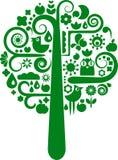Un árbol del vector con la colección de iconos de la naturaleza Imagen de archivo libre de regalías