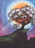 Un árbol grande en un acantilado de la roca Dibujo abstracto de la fantasía imágenes de archivo libres de regalías