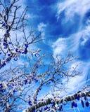 Un árbol por completo de los ojos azules (males de ojo), un significado de la fortuna Fotos de archivo libres de regalías