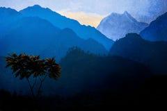 Un árbol solo contra la perspectiva de las montañas Himalayan y de la puesta del sol nepal Imagen de archivo libre de regalías