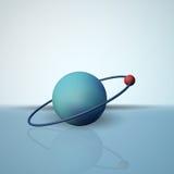 Un átomo de hidrógeno El electrón en órbita El modelo científico de moléculas libre illustration