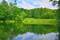 Un étang avec la côte boisée dans le domaine de Dvoryaninovo Image stock