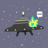 Un étranger sur une soucoupe volante dans l'espace, dit bonjour, est isolé Illustration Stock