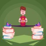 Un étudiant sur des piles des livres épais Images libres de droits