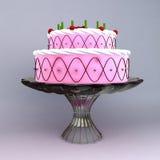 Un 3D rende della torta di cerimonia nuziale e di compleanno Fotografie Stock Libere da Diritti