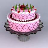 Un 3D rinde de la torta del cumpleaños y de boda Imagenes de archivo