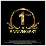 Un años de aniversario de oro diseño de la plantilla del aniversario para la web, juego, cartel creativo, folleto, prospecto, avi stock de ilustración