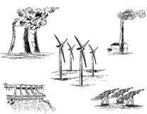 Un abbozzo di cinque centrali elettriche Illustrazione di Stock
