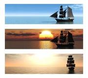 Un'accumulazione di 3 bandiere con le navi in mare. Immagini Stock Libere da Diritti