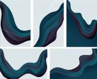 Un'accumulazione di 5 ambiti di provenienza astratti dell'onda in azzurro Fotografia Stock