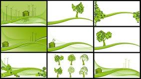 Un'accumulazione di 9 ambiti di provenienza ecologici Fotografia Stock Libera da Diritti
