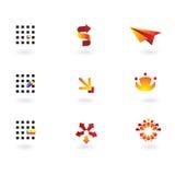 Un'accumulazione di 9 elementi di disegno Fotografia Stock