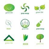 Un'accumulazione di 9 icone verdi di eco Immagine Stock