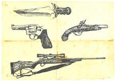 Un'accumulazione di quattro armi Fotografie Stock Libere da Diritti