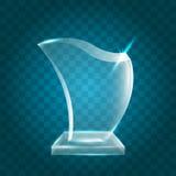 Un acrylique vide brillant transparent Crystal Glass Trophy Aw de vecteur Photos stock