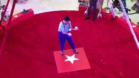Un acto de circo agradable en película roja del anillo