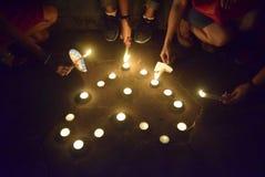 Un acto pacífico de la vela en Semarang Foto de archivo libre de regalías