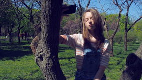 Un adolescente sta sedendosi su un albero con un telefono Una ragazza in jeans strappati fa il selfie Bella ragazza nel parco stock footage