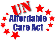 UN Affordable Care Act. Unaffordable Care Act graphic illustration or web icon with stars and stripes depicting the failure of the health care act vector illustration