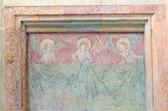 Un affresco di tre angeli, chiesa di Cemtent del san, Praga, repubblica Ceca Immagini Stock