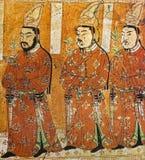 Un affresco di tre principi Oigour di Gao Chang nella caverna di Bezelik, provincia dello Xinjiang, Cina Fotografia Stock Libera da Diritti