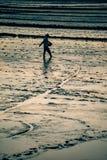 Un agricoltore cammina attraverso il suo campo nel Vietnam Immagini Stock Libere da Diritti