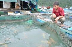 Un agricoltore con la sua aragosta che coltiva gabbia nella baia del Ro di Vung nel Vietnam Fotografie Stock Libere da Diritti