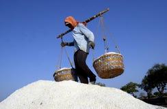 Un agricoltore del sale Fotografie Stock Libere da Diritti
