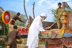Un agricoltore pakistano che controlla qualità dei grani del grano Immagini Stock Libere da Diritti